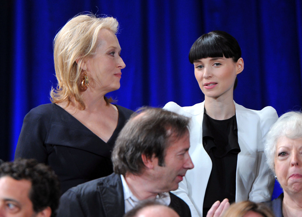 Rooney Mara caught up with Meryl Streep at the Oscars Nominees Luncheon.