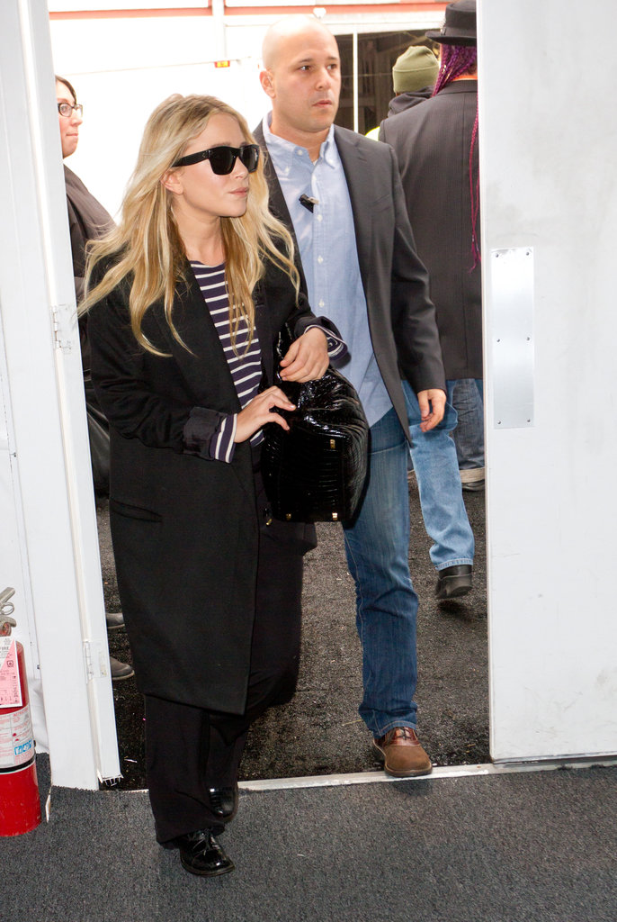 Mary-Kate and Ashley Olsen arriving at the J. Mendel show.