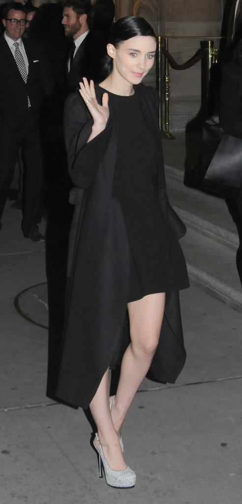 Rooney Mara waved as she left the National Board of Review Awards.