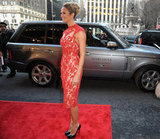 Stacy Keibler wore red lace Marchesa.