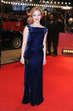 Holliday stepped onto the carpet and looked stunning in blue.