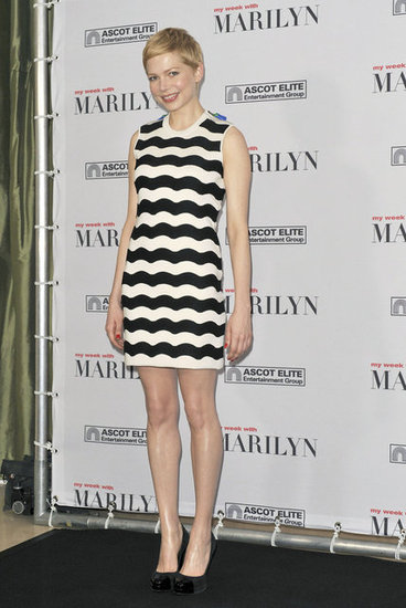 Michelle Williams Chooses Chic Stripes For Her Latest Marilyn Moment