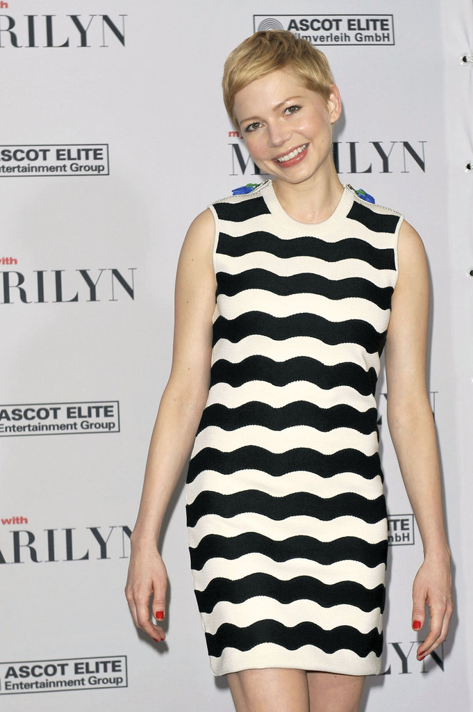 Michelle Williams wore a black and white striped dress to a Berlin Film Festival event.