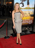 Jennifer Aniston hit the Wanderlust LA premiere's red carpet in a chevron-print Tom Ford dress that featured both leather trim and peplum. To finish the look, she chose a chic pair of black Christian Louboutin pumps.