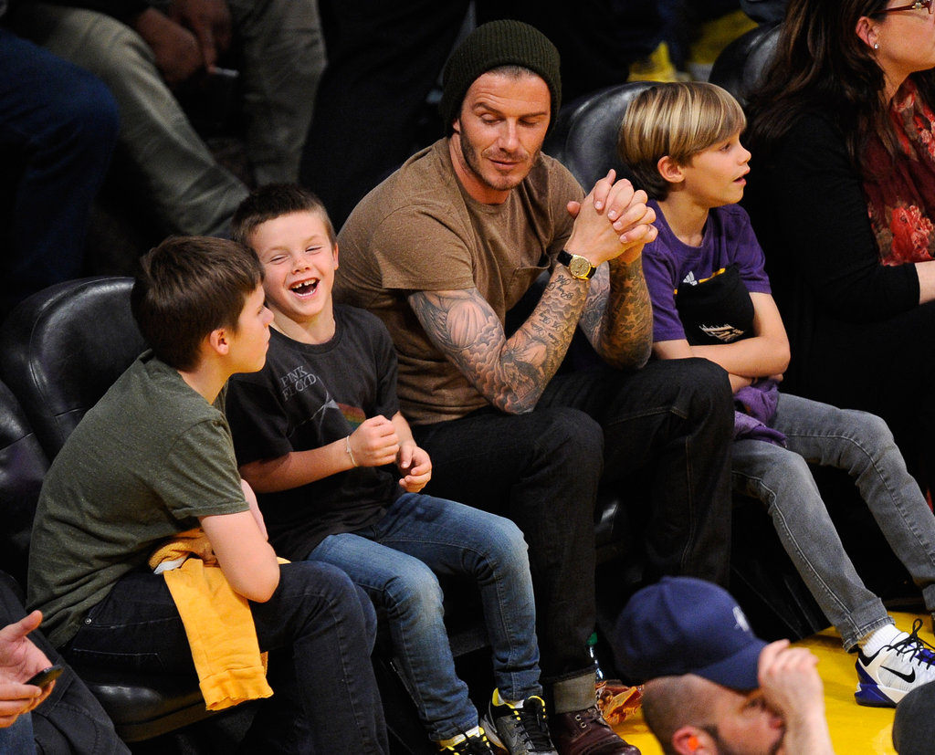 David Beckham, Cruz Beckham, Romeo Beckham, and Brooklyn Beckham spent the evening together.