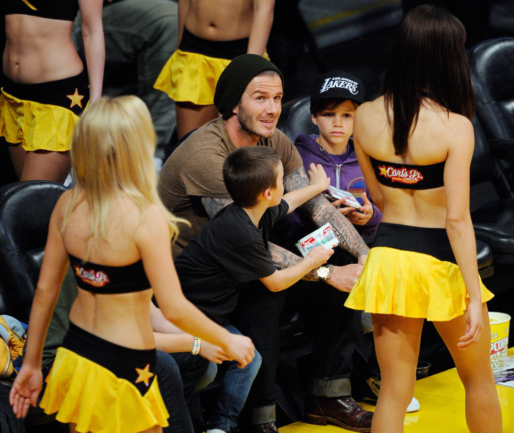 David Beckham, Cruz Beckham, Romeo Beckham, and Brooklyn Beckham saw Lakers cheerleaders.