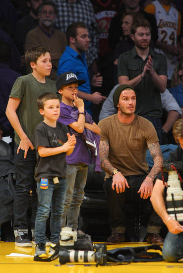 David Beckham Treats His Boys to a Night at the Lakers