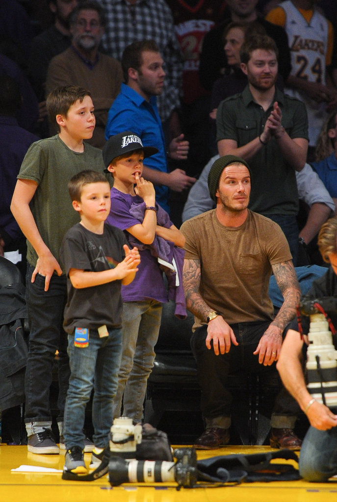 David Beckham, Cruz Beckham, Romeo Beckham, and Brooklyn Beckham hung out while Victoria was away.