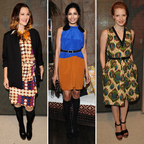 Drew Barrymore Celebrates Marni For H&M With Jessica Chastain and More