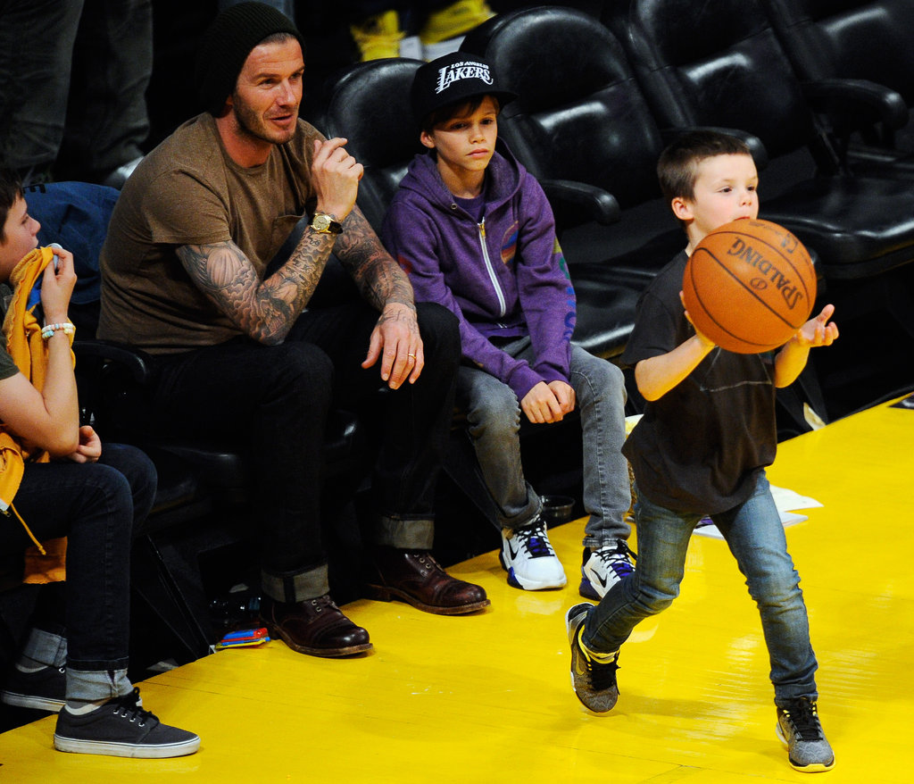 David Beckham, Cruz Beckham, Romeo Beckham, and Brooklyn Beckham watched the Lakers play the Suns.
