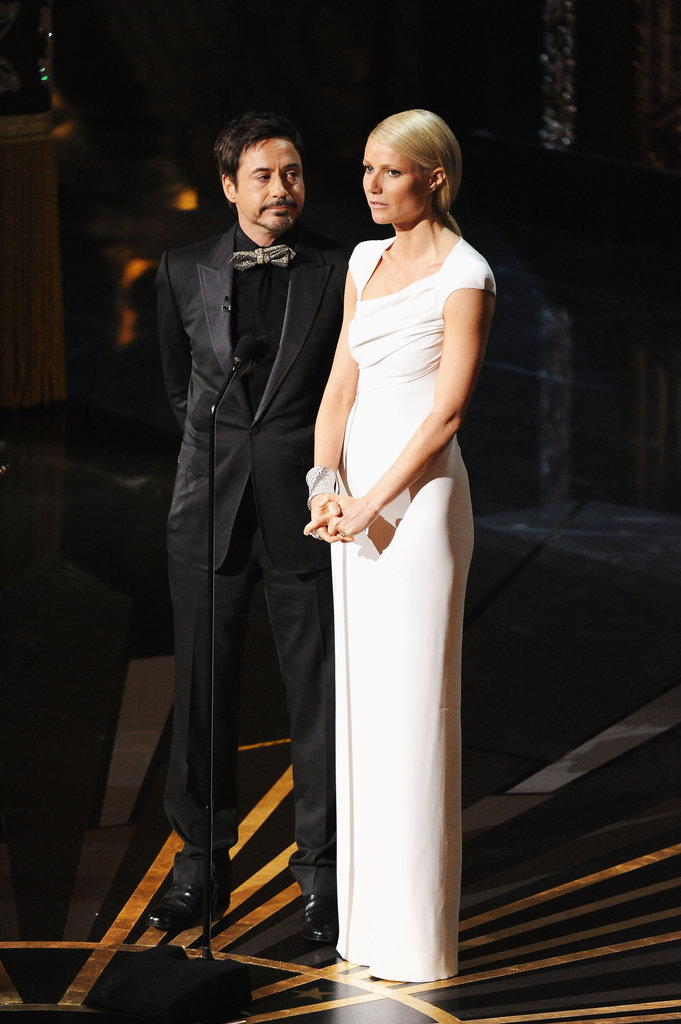 Gwyneth Paltrow and Robert Downey Jr. joked at the Oscars 2012.