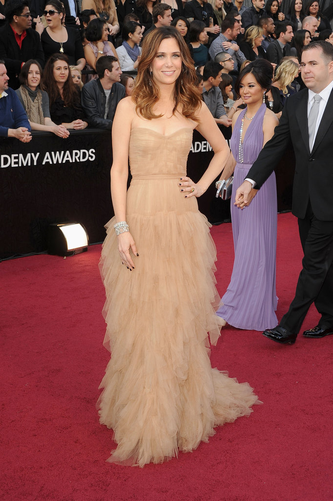 Kristen Wiig chose a nude-colored J.Mendel gown for the Oscars.