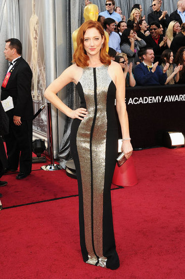 Judy Greer hit the carpet in a silver paneled gown.