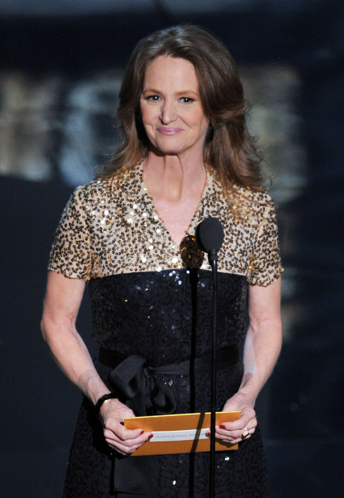 Actress Melissa Leo presented an award onstage at the 2012 Oscars.