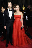 Natalie Portman walked the red carpet in a vintage Christian Dior Couture gown with husband Benjamin Millipied.