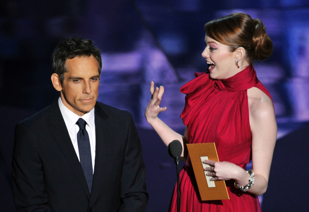 Ben Stiller and Emma Stone got silly onstage at the 2012 Oscars.