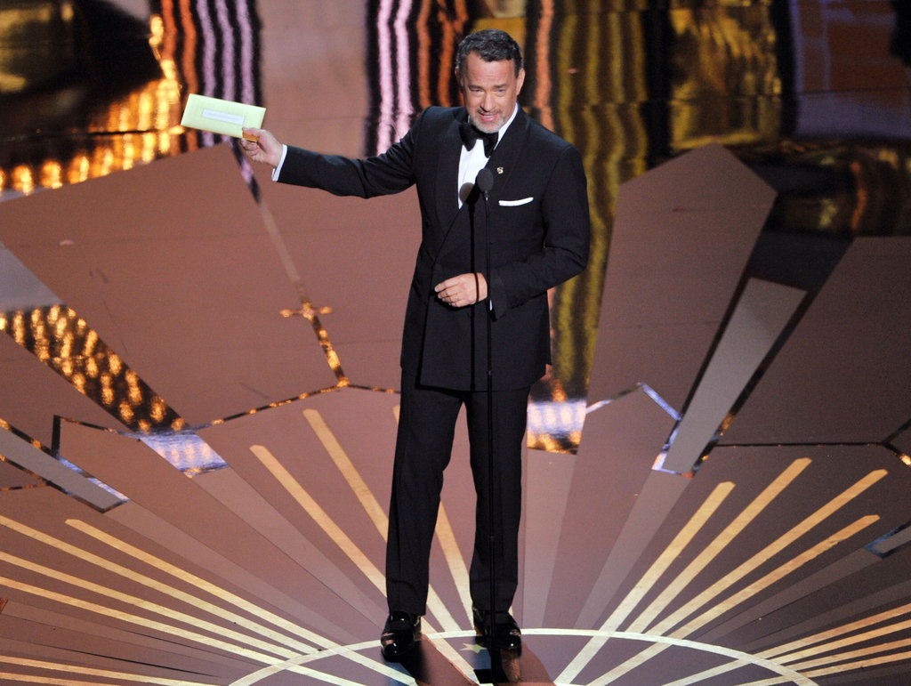 Tom Hanks presented an award onstage.