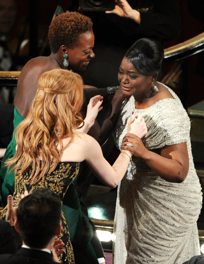 Octavia Spencer's costars from The Help congratulated her before she went onstage to accept her Best Supporting Actress award.