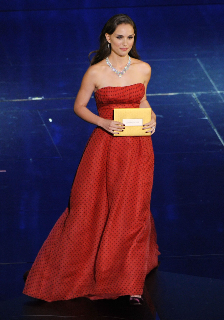 Natalie Portman graced the stage in a red vintage Christian Dior gown.