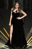 Angelina Jolie showed off her sexy slit while presenting an award.