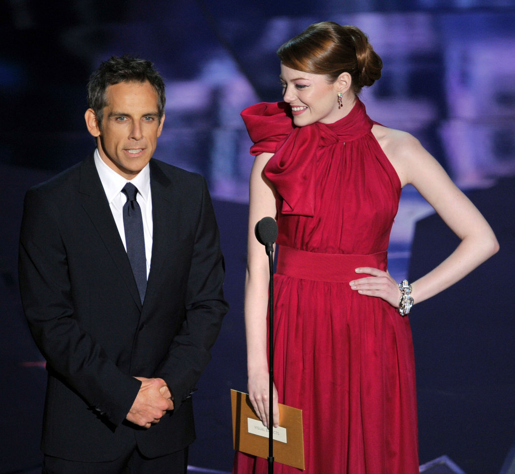 Ben Stiller and Emma Stone presented an award during the 2012 Oscars.