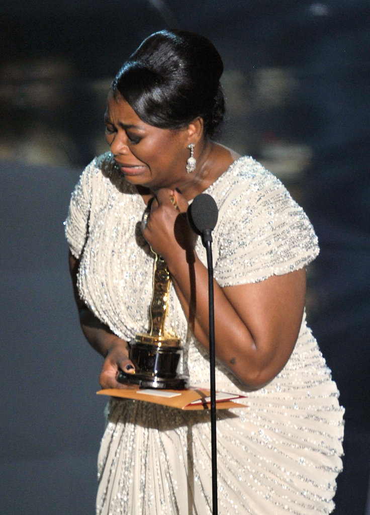 Octavia Spencer cried while making her acceptance speech at the 2012 Oscars.