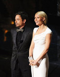 Robert Downey Jr. and Gwyneth Paltrow presented an award during the 2012 Oscars.