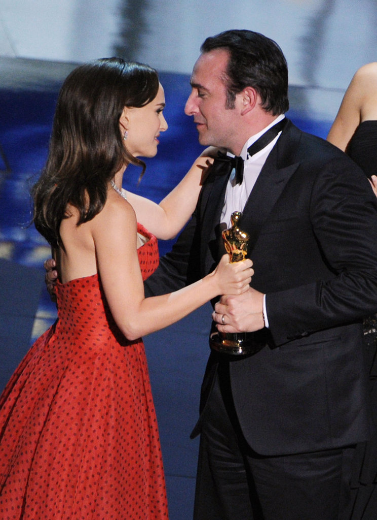 Natalie Portman presented Jean Dujardin with the best actor award for his role in The Artist.