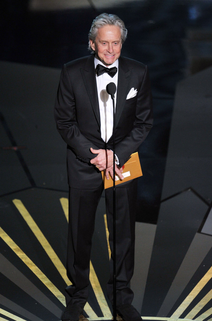 Michael Douglas presented an award at the 2012 Oscars.