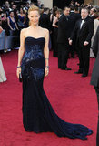 Leslie Mann channeled the perfect mix of glam and gorgeous ina navy sequined Roberto Cavalli gown.
