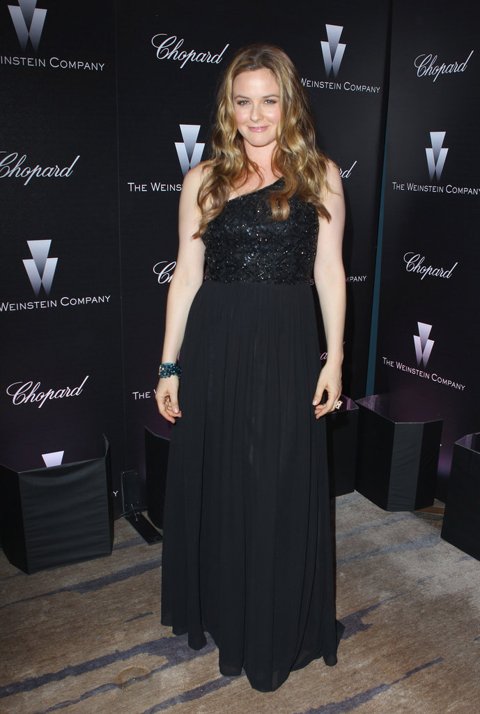 Alicia Silverstone also wore a black one-shoulder dress like Rachel Zoe.