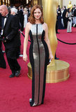 Judy Greer looked sport chic in metallic Monique Lhuillier gown and satin box clutch.