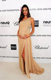 Alessandra Ambrosio showed off her baby bump in a diaphanous nude gown by Roberto Cavalli — we love the sexy leg slit!