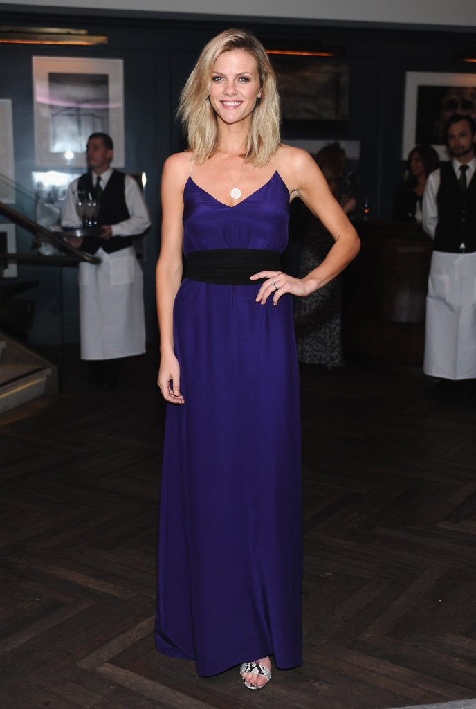 Brooklyn Decker also got on the purple train with her silk maxi.