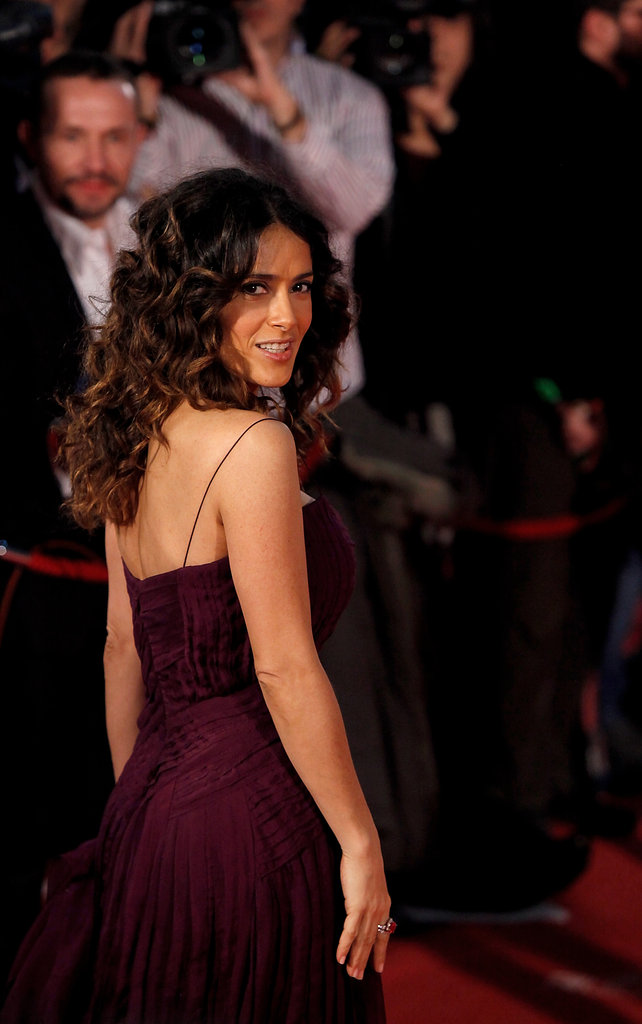 Salma Hayek showed off her gorgeous dress and figure in Madrid.