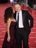 Salma Hayek showed some affection to her husband Francois-Henri Pinault.