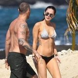 Megan Fox wore a white bikini top.