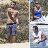 Shirtless Chace Crawford Hits the Beach With Pregnant Candice and Tony Romo