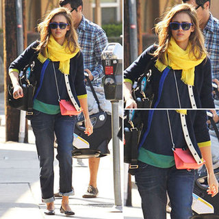 Jessica Alba in Kate Spade Cardigan in LA