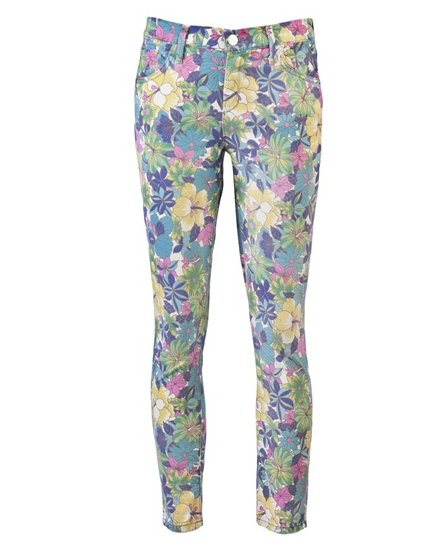 Goldsign Virtual Floral Crop Jeans ($224)