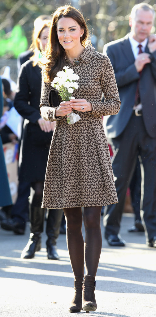 Kate Middleton wore a simple Orla Kiely dress.