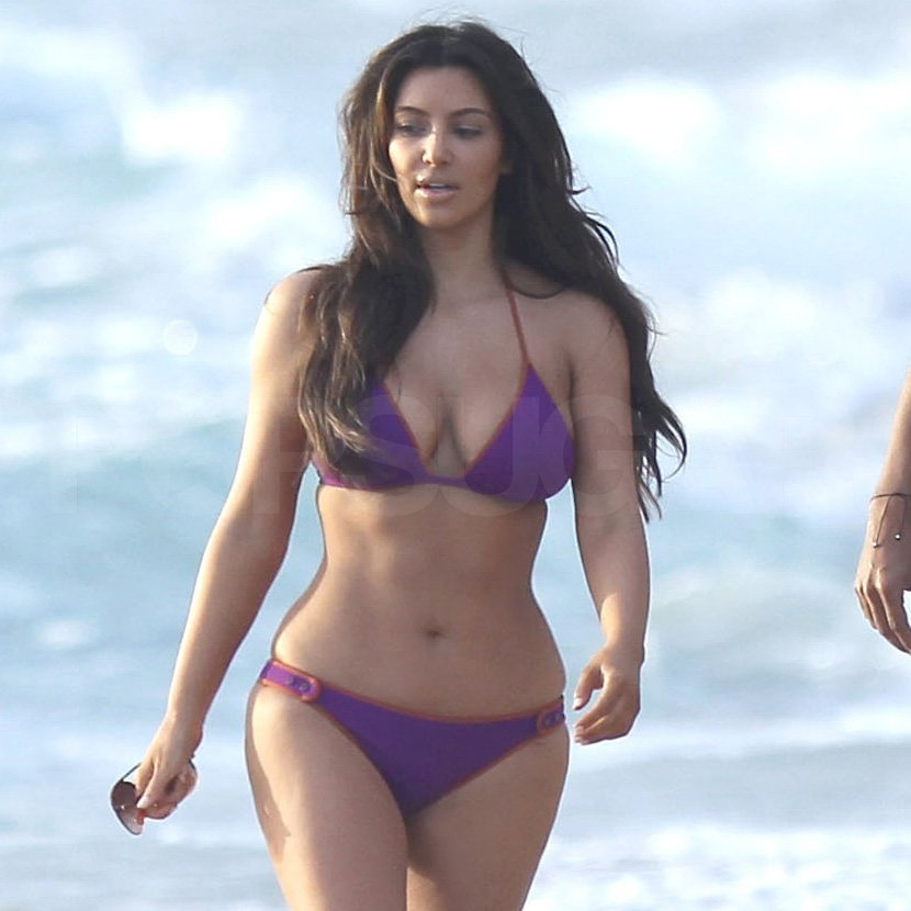 Kim Kardashian wore a purple bikini in Florida.