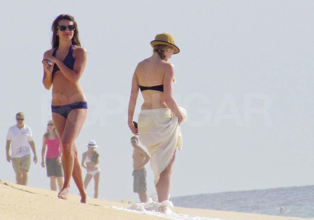 Lea Michele on the beach in a bikini.