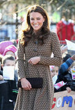 Kate Middleton smiled outside the Rose Hill Primary School in Oxford.