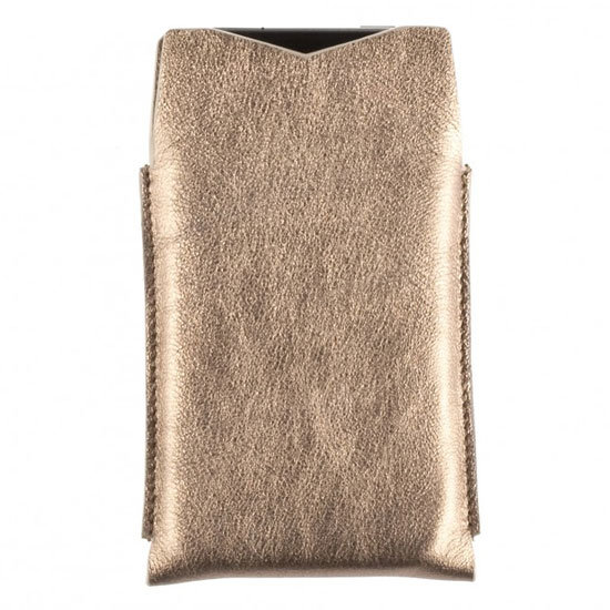 iPhone Case in Gold Metallic Goatskin ($130)