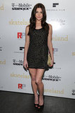 Celebrating the Skateland premiere in an embellished minidress in 2011.