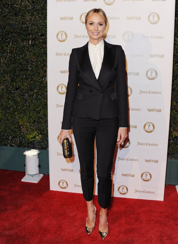 Stacy Keibler worked the menswear look to perfection in a cropped pant suit by Zara and metallic pumps.