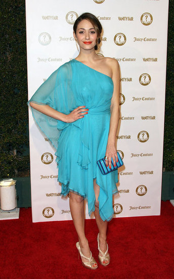 Emmy Rossum glowed in an ethereal sky-blue one-shoulder dress.