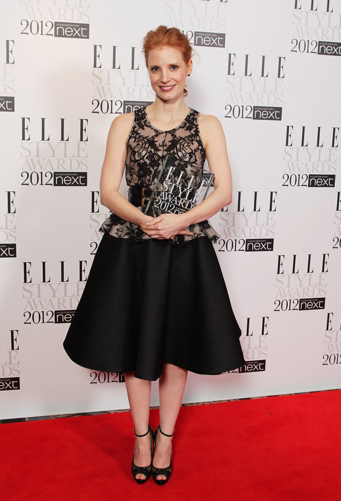 Jessica Chastain stepped out in an ornate take on the trend in a full-skirted Alexander McQueen frock for the Elle Style Awards.