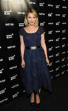 Dianna Agron perfected retro-inspired style in a tea-length navy frock.
